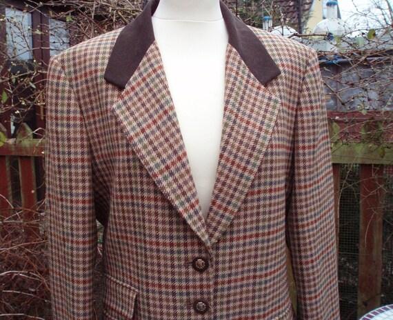 Vintage Classic Brown Tweed Hacking Wool Jacket by Viyella, England - 14
