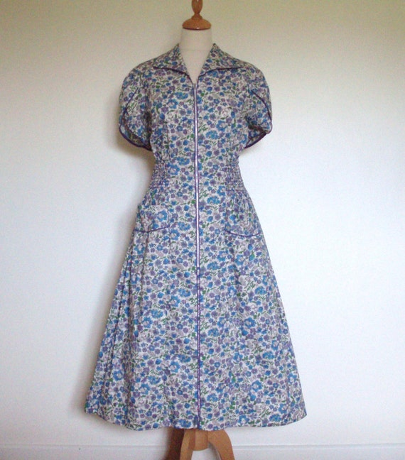 "1950s/60s Vintage ""Simplicity"" floral ditsy tea day dress UK 14 16 US 10 12"