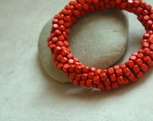 Coral Red Wood Beaded Bracelet