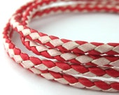 LBOLO0330691) 3.0mm Red & White Genuine Braided Bolo Leather Cord.  0.9 meter, 1.4 meters.  Length Available.