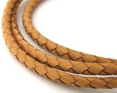 LBOLO0335601) 1 meter of 3.5mm Natural Braided Bolo Leather Cord