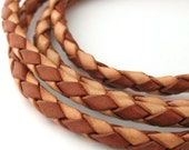 LBOLO0340680) 4.0mm Natural & Light Brown Genuine Braided Bolo Leather Cord.  1 meter, 2.8 meters.  Length Available.
