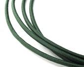 LRD0120008) 1 meter of 2.0mm Dark Green Round Leather Cord