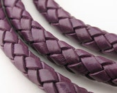 LBOLO0360641) 1 meter of 6.0mm Dark Violet Braided Bolo Leather Cord