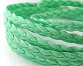 LLFBolo1532081) 1 meter of 3x2mm Mint Metallic Flat Braided Leather Like Cord