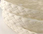 LLFBolo1943095) 1 meter of 4x3mm White Metallic Flat Braided Leather Like Cord