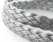 LLFBolo1943047) 1 meter of 4x3mm Silver Metallic Flat Braided Leather Like Cord
