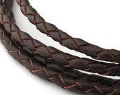 LBOLO0340603) 1 meter of 4.0mm Red Brown Braided Bolo Leather Cord