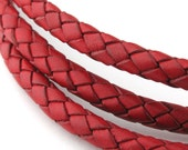 LBOLO0350605) 1 meter of 5.0mm Dull Red Braided Bolo Leather Cord