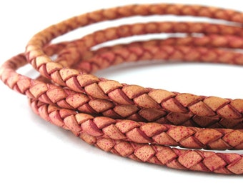 LBOLO0325654) 2.5mm Antique Pink Genuine Braided Bolo Leather Cord.  1 meter, 3 meters, 5 meters, 10 meters, 16.2 meters.  Length Available.