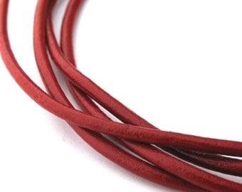 LRD0120005) 2.0mm Red Genuine Round Leather Cord.  1 meter, 3 meters, 5 meters, 10 meters.  Length Available