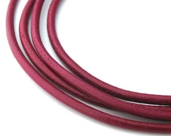 LRD0120023) 2.0mm Cyclaman Genuine Round Leather Cord.  1 meter, 3 meters, 5 meters, 10 meters, 20 meters.  Length Available.