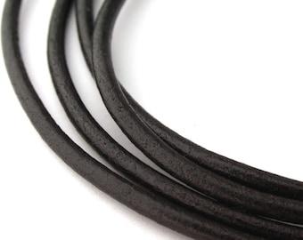 LRD0125002) 2.5mm Black Genuine Round Leather Cord. 1 meter, 3 meters, 5 meters, 10 meters.  Length Available.