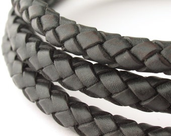 LBOLO0380602) 8.0mm Black Genuine Braided Bolo Leather Cord.  1.2 meter, 3 meters, 5.7 meters.  Length Available.