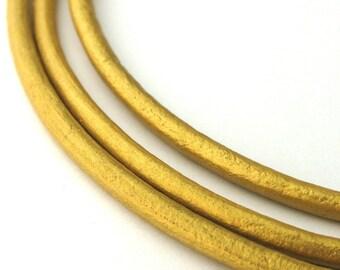 LRD0130042) 3.0mm Gold Genuine Metallic Round Leather Cord.  1 meter, 3 meters, 5 meters, 10 meters.  Length Available.