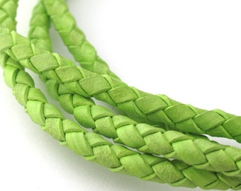 LBOLO0340637) 4.0mm Light Fern Genuine Braided Bolo Leather Cord.  1 meter, 3.55 meters.  Length Available.