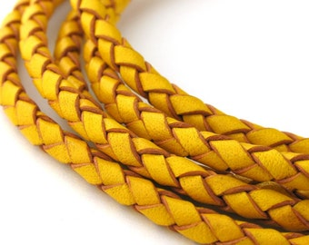 LBOLO0340615) 1 meter of 4.0mm Yellow Braided Bolo Leather Cord
