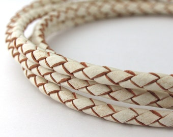 LBOLO0330609) 3.0mm White Genuine Braided Bolo Leather Cord.   0.6 meter, 4.9 meters.  Length Available.