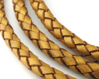 LBOLO0350624) 5.0mm Gold Metallic Genuine Braided Bolo Leather Cord.  0.9 meter, 3 meters, 5.4 meters.  Length Available.