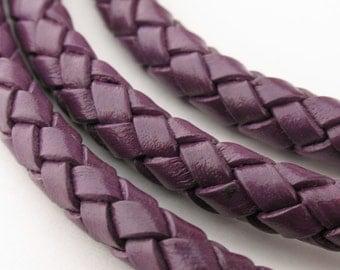 LBOLO0360641) 6.0mm Dark Violet Genuine Braided Bolo Leather Cord.  1 meter, 3 meters, 5 meters, 8.3 meters.  Length Available.