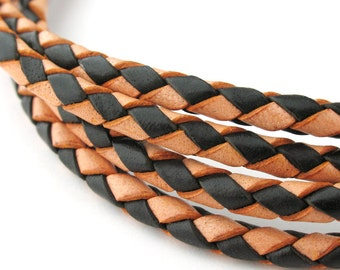 LBOLO0340681) 4.0mm Antique Natural & Black Genuine Braided Bolo Leather Cord.  1 meter, 3.2 meters.  Length Available.