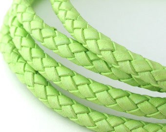 LBOLO0350637) 1.4 meter of 5.0mm Light Fern Genuine Braided Bolo Leather Cord.