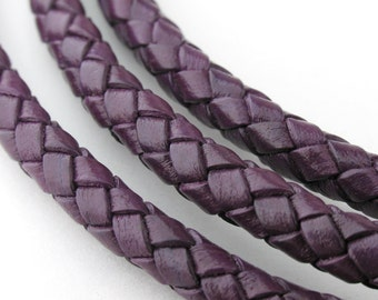 LBOLO0350641) 5.0mm Dark Violet Genuine Braided Bolo Leather Cord.  1 meter, 3 meters, 5 meters, 9.1 meters.  Length Available.