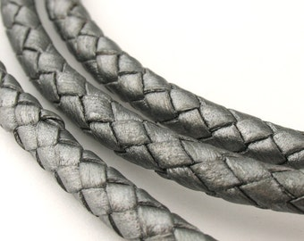 LBOLO0360622) 6.0mm Steel Grey Metallic Genuine Braided Bolo Leather Cord.  1 meter, 3.7 meters.  Length Available.