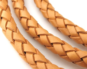 LBOLO0365601) 6.5mm Natural Genuine Braided Bolo Leather Cord.  1 meter, 3.7 meters.  Length Available.