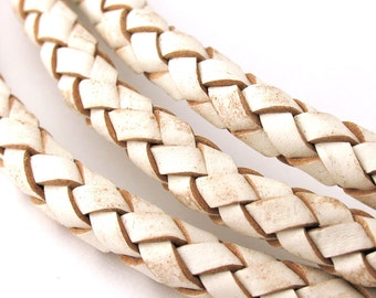 LBOLO0365609) 6.5mm White Genuine Braided Bolo Leather Cord.  1.05 meter, 3 meters, 5.9 meters.  Length Available.