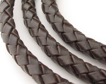 LBOLO0370612) 7.0mm Dark Brown Genuine Braided Bolo Leather Cord.  1.1 meter, 3 meters, 6 meters.  Length Available.