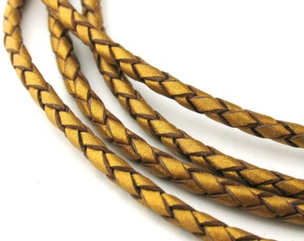 LBOLO0325624) 1 meter of 2.5mm Gold Metallic Braided Bolo Leather Cord