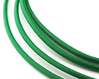 LRD0120014) 2.0mm Light Green Genuine Round Leather Cord.  1 meter, 3 meters, 5 meters.  Length Available.