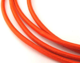 LRD0120020) 2.0mm Orange Genuine Round Leather Cord.  1 meter, 3 meters, 5 meters, 10 meters.  Length Available.