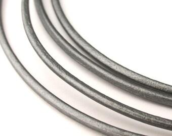LRD0120047) 2.0mm Grey Genuine Metallic Round Leather Cord.  1 meter, 3 meters, 5 meters, 10 meters.  Length Available.