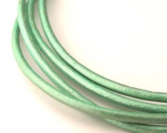 LRD0120063) 2.0mm Oasis Turquoise Genuine Metallic Round Leather Cord.  1 meter, 3 meters, 5 meters, 10 meters.  Length Available.