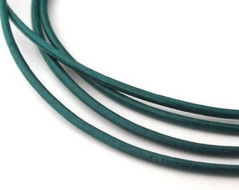 LRD0115122) 1.5mm Esmeralda Genuine Round Leather Cord.  1 meter, 3 meters, 5 meters, 10.6 meters.  Length Available.