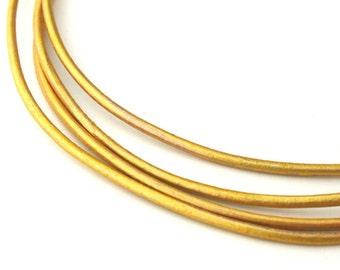 LRD0115042) 1.5mm Gold Genuine Metallic Round Leather Cord.  1 meter, 3 meters, 5 meters, 10 meters, 16 meters.  Length Available.