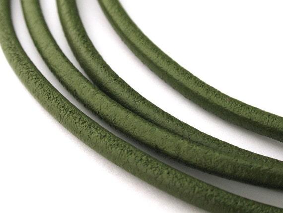 LRD0130037) 3.0mm Mehandi Genuine Round Leather Cord. 1 meter, 3 meters, 5 meters, 10 meters.  Length Available.