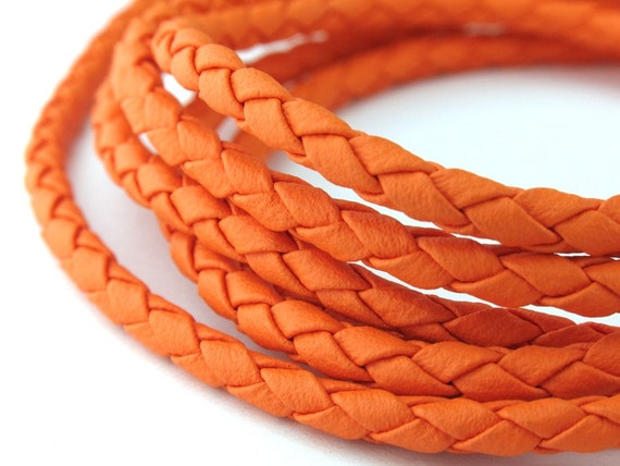 LLBOLO1330816) 1 meter of 3.0mm Orange Round Braided Bolo Leather Like Cord