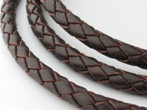 LBOLO0350603) 1 meter of 5.0mm Red Brown Braided Bolo Leather Cord