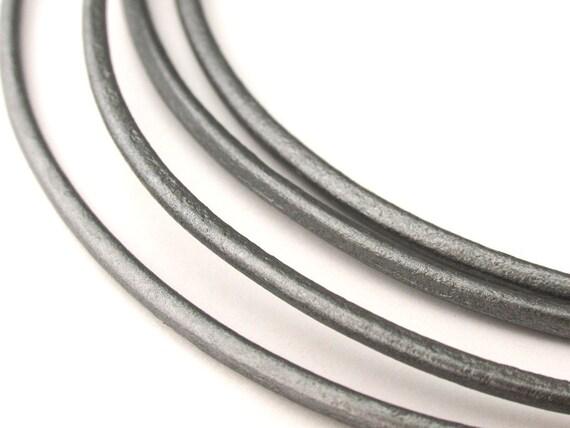 LRD0120047) 1 meter of 2.0mm Grey Metallic Round Leather Cord