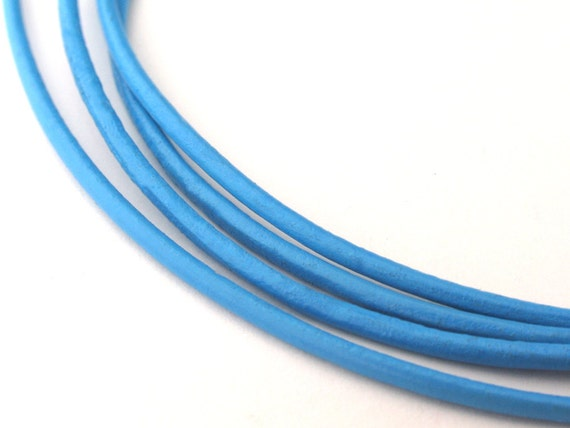 LRD0115024) 1.5mm Sky Blue Genuine Round Leather Cord.  1 meter, 3 meters, 5 meters, 10 meters, 20 meters.  Length Available.