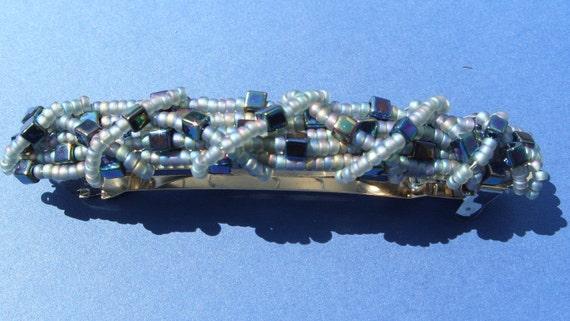 Mulitcoloured metallic hairclip/barette  - muliticoloured glass beads, beaded hair accessory