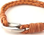 "MCBC010237) 3mm Genuine Braided Bolo Leather 316L Stainless Steel Shrimp Clasp Bracelet (21cm / 8 1/4"")"