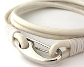 """MCBC010431) 3mm Genuine Round Leather with Stainless Steel Shrimp Clasp Bracelet (19cm / 7 1/2"""")"""