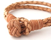 """MCBC010257) 4mm Genuine Braided Bolo Leather Chinese Knot Bracelet (19cm / 7 1/2"""")"""