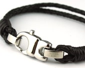 BC010212) 19cm Genuine Plait Braided Bolo Leather Bracelet with Stainless Steel Lobster Clasp (19cm length)