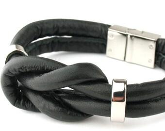MCBC010417) 6mm Genuine Goat Leather Bracelet with Stainless Steel Push Clasp (20cm length), Leather Bracelet, Black Leather Bracelet