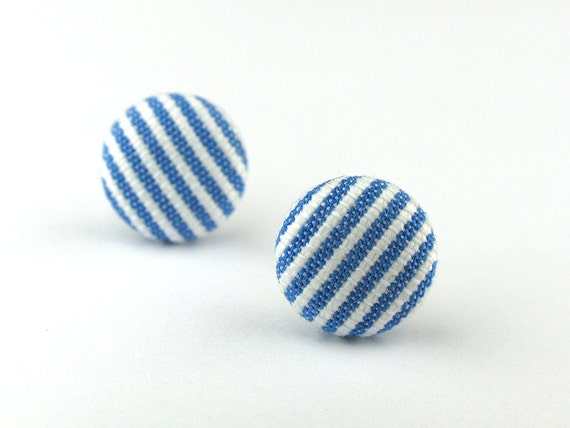 EE08011011) Fabric Covered Stud Earrings (10mm)